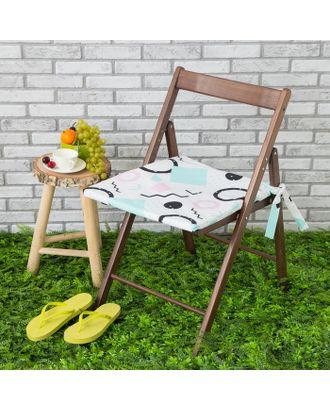 Подушка на стул уличная «Этель» Квадраты, 45×45 см, репс с пропиткой ВМГО, 100% хлопок арт. СМЛ-14153-1-СМЛ3729391