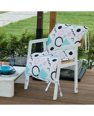 Подушка на уличное кресло «Этель» Квадраты, 50×100+2 см, репс с пропиткой ВМГО, 100% хлопок арт. СМЛ-14155-1-СМЛ3729424