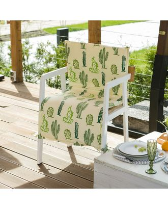 Подушка на уличное кресло «Этель» Кактусы, 50×100+2 см, репс с пропиткой ВМГО, 100% хлопок арт. СМЛ-14156-1-СМЛ3729431