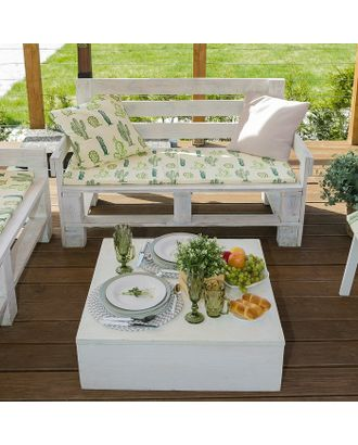 Подушка на трехместную скамейку «Этель» Кактусы, 45×150 см, репс с пропиткой ВМГО, 100% хлопок арт. СМЛ-22975-1-СМЛ3729656