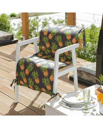 Подушка на уличное кресло «Этель» Ананасы, 50×100+2 см, репс с пропиткой ВМГО, 100% хлопок арт. СМЛ-14173-1-СМЛ3729842