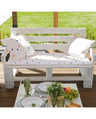 Подушка на трехместную скамейку «Этель» Треугольники, 45×150 см, репс с пропиткой ВМГО, 100% хл арт. СМЛ-22974-1-СМЛ3732461
