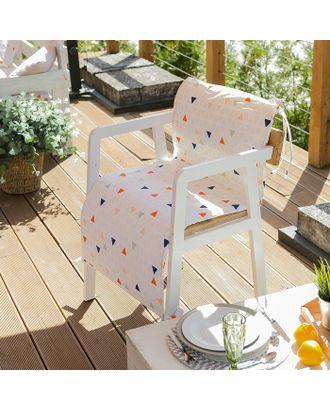 Подушка на уличное кресло «Этель» Треугольники, 50×100+2 см, репс с пропиткой ВМГО, 100% хлопок арт. СМЛ-14208-1-СМЛ3733672