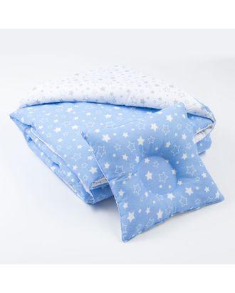 Комплект в кроватку (Одеяло детское, подушка фигурная) Серый/Голубой арт. СМЛ-14267-1-СМЛ3740128