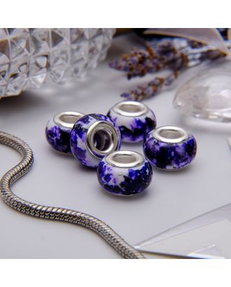 """Бусина """"Чернила"""", цв.бело-фиолетовый в серебре арт. СМЛ-36181-1-СМЛ0003740393"""