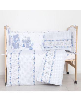 """Комплект в кроватку (6 предметов) """"Мишки и зайки"""", цвет голубой, бязь, хл100% арт. СМЛ-26526-1-СМЛ3770220"""