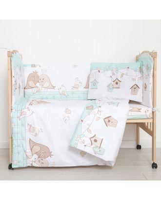 """Комплект в кроватку (6 предметов) """"Любящие птенчики"""", цвет мята, бязь, хл100% арт. СМЛ-14358-1-СМЛ3770221"""