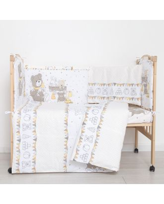 """Комплект в кроватку (6 предметов) """"Мишки и зайки"""", цвет бежевый, бязь, хл100% арт. СМЛ-14359-1-СМЛ3770222"""