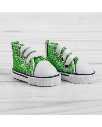"""Кеды для кукол """"Блестки"""", длина стопы 5 см, цвет зеленый арт. СМЛ-14413-1-СМЛ3785980"""