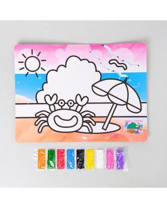 """Фреска с цветным основанием """"Краб"""" 9 цветов песка по 2 г арт. СМЛ-36904-1-СМЛ0003812091"""