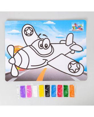 """Фреска с цветным основанием """"Самолет"""" 9 цветов песка по 2 г арт. СМЛ-36906-1-СМЛ0003812094"""