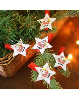 """Набор новогоднего декора на прищепке, 6 шт. """"Звёздочки с Дедом Морозом"""" арт. СМЛ-14659-1-СМЛ3826122"""