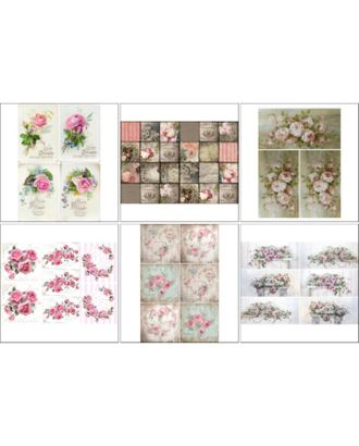 Набор декупажных карт 6 шт «Винтажные розы 2» арт. СМЛ-14685-1-СМЛ3827916