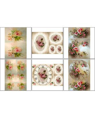 Набор декупажных карт 6 шт «Размытые розы» арт. СМЛ-33277-1-СМЛ3828006