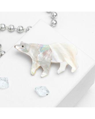 """Брошь """"Перламутр"""" белый медведь арт. СМЛ-30756-1-СМЛ3829334"""