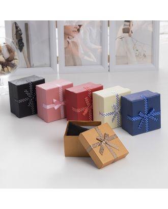 """Коробочка подарочная под часы/браслет """"Бантик"""" в горошек, 9*9 (размер полезной части 8,4х7,9см), цвет МИКС арт. СМЛ-15030-1-СМЛ3856633"""