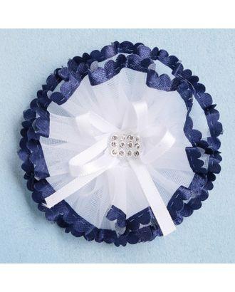"""Резинка для волос """"Синий кантик"""" 8 см стразы, белый арт. СМЛ-15053-1-СМЛ3859036"""