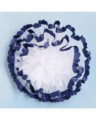 """Резинка для волос """"Синий кантик"""" 8 см пышный, белый арт. СМЛ-15054-1-СМЛ3859037"""