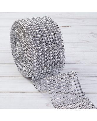 Лента с имитацией выпуклых страз, 5,75 см, 9 ± 1 м, цвет серебряный арт. СМЛ-29079-1-СМЛ3864827