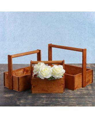 """Кашпо деревянное 20×11×20 см Элегант """"Классик"""", 3 в 1, с ручкой, мокко арт. СМЛ-120854-1-СМЛ0003872020"""