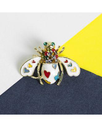 """Брошь """"Муха"""" в сердечках, цветная в золоте арт. СМЛ-15316-1-СМЛ3875293"""