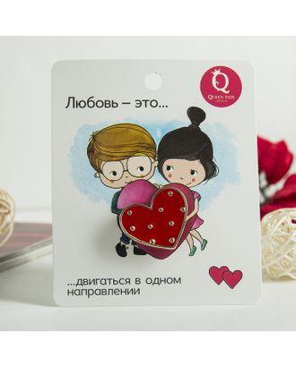 """Значок """"Сердце"""" любовь - это..., цвет красный в золоте арт. СМЛ-15337-1-СМЛ3876944"""