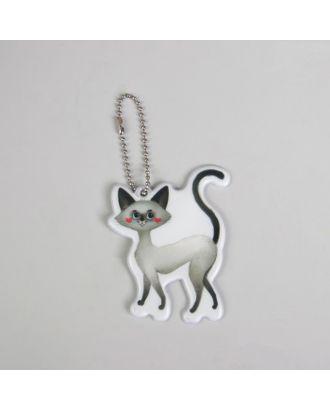 Светоотражающий элемент «Кошка», 6 × 8 см, цвет серый арт. СМЛ-15413-1-СМЛ3878754
