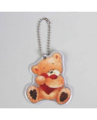 Светоотражающий элемент «Медведь», 7 × 6 см, цвет оранжевый/красный арт. СМЛ-15418-1-СМЛ3878759