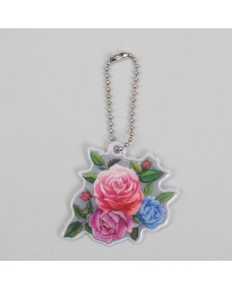 Светоотражающий элемент «Цветы», 5 × 6 см, розовый/синий/зелёный арт. СМЛ-15421-1-СМЛ3878763