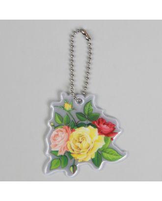 Светоотражающий элемент «Цветы», 6 × 6 см, розовый/жёлтый/зелёный арт. СМЛ-15422-1-СМЛ3878764