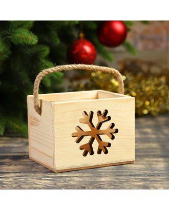"Кашпо деревянное ""Снежинка"", ручка- шнур, 12,5х10,5х9,5см арт. СМЛ-120855-1-СМЛ0003885107"