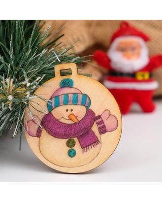 """Бирка """"Новогоднйи снеговик"""", D=5см арт. СМЛ-37441-1-СМЛ0003885170"""