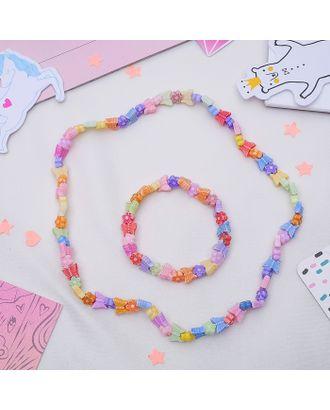 """Набор детский """"Выбражулька"""" 2 предмета: бусы, браслет, бабочки арт. СМЛ-15497-1-СМЛ0388694"""