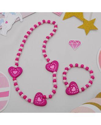 """Набор детский """"Выбражулька"""" 2 предмета: бусы, браслет, бабочки нежность, цвет бело-розовый арт. СМЛ-21430-3-СМЛ0388718"""