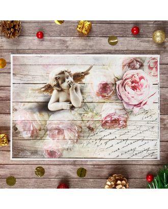 """Декупажная карта """"Ангел с розами"""" плотность 45 г/м2, формат А4 арт. СМЛ-15502-1-СМЛ3887228"""