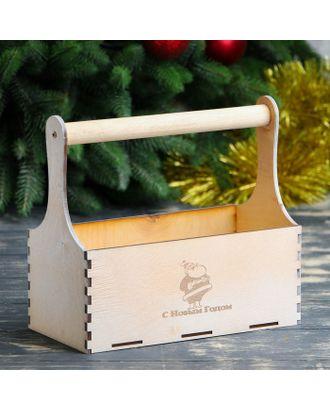 """Кашпо деревянное """"С Новым Годом, Дед Мороз"""", деревянная ручка, белое золото Дарим Красиво арт. СМЛ-120866-1-СМЛ0003895165"""