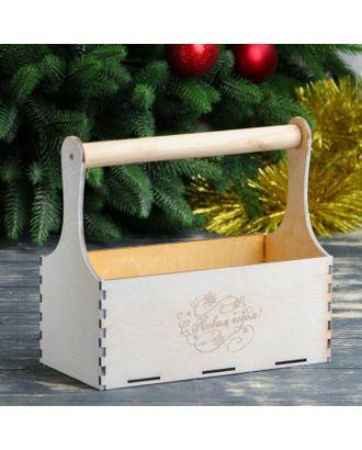 """Кашпо деревянное """"С Новым Годом, завитушки"""", деревянная ручка, белое золото Дарим Красиво арт. СМЛ-120867-1-СМЛ0003895167"""