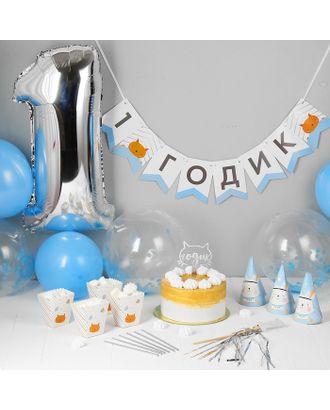 Набор для оформления праздника «1 годик дочке», воздушные шары, гирлянда, топпер, колпачки, снек-боксы арт. СМЛ-105448-2-СМЛ0003899449