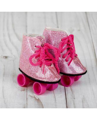 """Ролики для кукол """"Блестки"""", длина подошвы: 8 см, цв.розовый арт. СМЛ-15578-1-СМЛ3899550"""