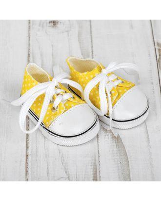 """Кеды для кукол """"Горошек"""", длина стопы: 7 см, цв.желтый арт. СМЛ-15580-1-СМЛ3899557"""