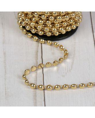 Стразы на нитях, плоские, 6 мм, 9 ± 1 м, цвет золотой арт. СМЛ-29096-1-СМЛ3901204