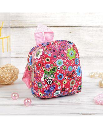 """Рюкзак для куклы """"Цветочки"""", цв.красный арт. СМЛ-15619-1-СМЛ3903963"""