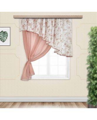 Комплект штор для кухни Византия 280х160 см, левая, какао, полиэстер 100% арт. СМЛ-23973-2-СМЛ3913948