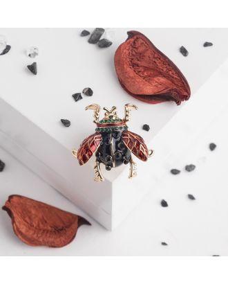 """Значок """"Жучок"""", цвет красно-черный в золоте арт. СМЛ-15836-1-СМЛ3916516"""