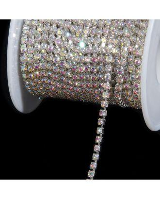 Цепь со стразами, 2 мм, 9±1 м, цвет серебряная голография арт. СМЛ-29770-1-СМЛ3917651