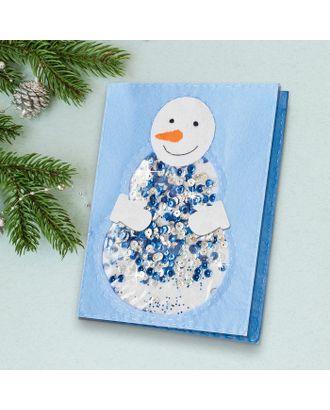 """Новогодняя открытка, шейкер """"Веселый снеговик"""" арт. СМЛ-15927-1-СМЛ3920149"""
