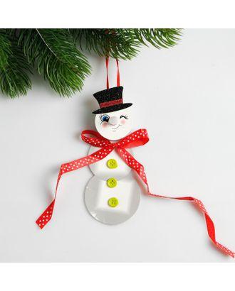 Набор для создания новогодней подвески со светом «Снеговик с бантиком» арт. СМЛ-15983-1-СМЛ3925187