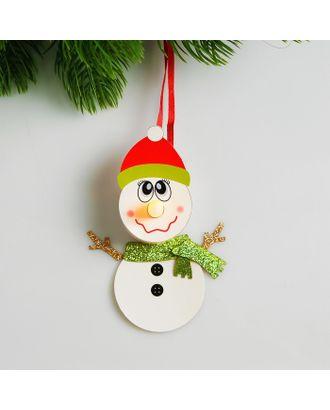 Набор для создания новогодней подвески со светом «Снеговик в шарфике» арт. СМЛ-15985-1-СМЛ3925189