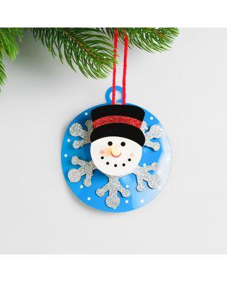 Набор для создания новогодней подвески со светом «Снеговик на шаре» арт. СМЛ-15988-1-СМЛ3925192