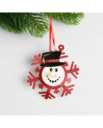 Набор для создания новогодней подвески со светом «Снеговик в снежинке» арт. СМЛ-15991-1-СМЛ3925195